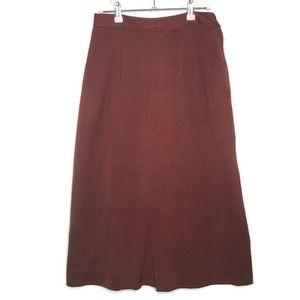 1940s Brown Wool Vintage A-Line Midi Skirt